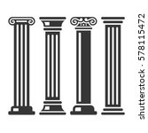 ancient columns icon set. vector | Shutterstock .eps vector #578115472