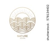 Vector logo of nature elements on white background. Linear icon of landscape with trees and sun - business emblems, badge for a travel, farming and ecology concepts, health and yoga Center.  | Shutterstock vector #578134402