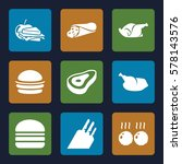 meat icon. set of 9 meat filled ... | Shutterstock .eps vector #578143576