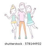 vector illustration of happy... | Shutterstock .eps vector #578144932