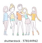 vector illustration of happy... | Shutterstock .eps vector #578144962