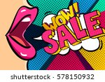 open mouth and sale message in... | Shutterstock .eps vector #578150932
