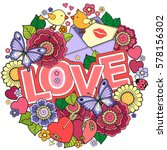 greeting card for lovers ... | Shutterstock . vector #578156302