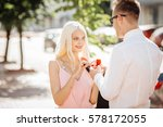 young man giving diamond... | Shutterstock . vector #578172055