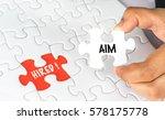 hand holding white jigsaw... | Shutterstock . vector #578175778