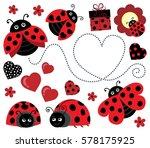 valentine ladybugs theme image...   Shutterstock .eps vector #578175925