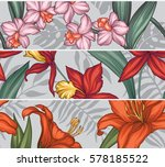 vector tropical leaves and... | Shutterstock .eps vector #578185522