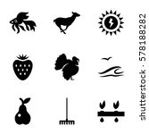 nature icon. set of 9 nature... | Shutterstock .eps vector #578188282