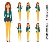 set of business woman character ... | Shutterstock .eps vector #578199886