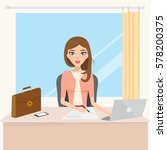 business woman character in job ... | Shutterstock .eps vector #578200375