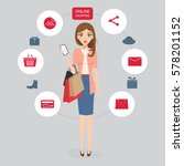 woman shopping online with...   Shutterstock .eps vector #578201152