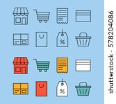 shopping thin line symbols set. ... | Shutterstock .eps vector #578204086
