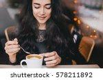 beautiful young woman enjoying... | Shutterstock . vector #578211892