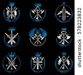 vintage weapon emblems set.... | Shutterstock .eps vector #578223832