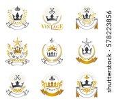 royal crowns emblems set.... | Shutterstock .eps vector #578223856