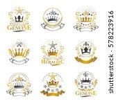 royal crowns emblems set....   Shutterstock .eps vector #578223916