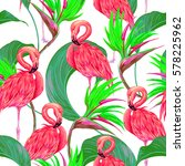 pink flamingos  tropical... | Shutterstock .eps vector #578225962
