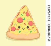 cute pizza slice food vector...   Shutterstock .eps vector #578242585