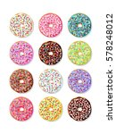 set of bright donuts with... | Shutterstock .eps vector #578248012