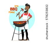 a cheerful man is cooking steak ... | Shutterstock .eps vector #578253832