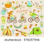 vector set of cute doodle... | Shutterstock .eps vector #578257546