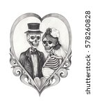 Skull Bride And Groom In Love...