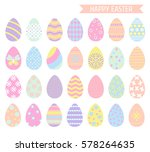 easter eggs icons in pastel... | Shutterstock .eps vector #578264635