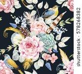 watercolor gentle floral... | Shutterstock . vector #578268382