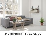 white room with sofa and winter ... | Shutterstock . vector #578272792