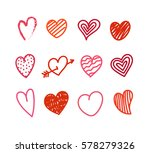 Different Valentines day hand color, drawn hearts set. Sketch style hearts collection isolated on white