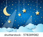 surreal cloudscape by night... | Shutterstock .eps vector #578289082