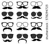 vector set of hipster mustaches ... | Shutterstock .eps vector #578294725