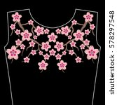 embroidery stitches with sakura ... | Shutterstock .eps vector #578297548