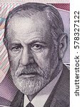 Small photo of Sigmund Freud portrait on Austria 50 schilling banknote closeup macro. Austrian neurologist and the founder of psychoanalysis.
