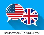 two white speech bubbles with... | Shutterstock .eps vector #578334292