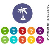 palm set icons in different... | Shutterstock . vector #578335792