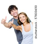 two young smiling people with... | Shutterstock . vector #57833650