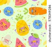 vector cartoon fruits in... | Shutterstock .eps vector #578349286