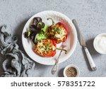 quinoa stuffed baked bell...   Shutterstock . vector #578351722