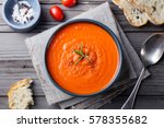 tomato soup in a black bowl on... | Shutterstock . vector #578355682
