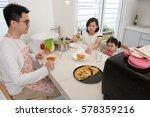 asian family enjoying and... | Shutterstock . vector #578359216