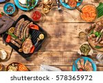 outdoors food concept. frame of ... | Shutterstock . vector #578365972