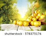 Yellow Lemons On Wooden Table...