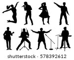 set of silhouettes of musicians ... | Shutterstock . vector #578392612