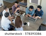 top view group of asian... | Shutterstock . vector #578393386
