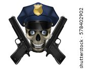 skull in a police cap and... | Shutterstock .eps vector #578402902