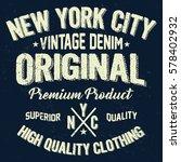 new york city vintage denim ...   Shutterstock .eps vector #578402932