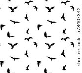 seamless pattern of flying... | Shutterstock . vector #578407342
