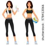young girl in fitness sportswear | Shutterstock .eps vector #578413066