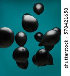 black balloons floating in... | Shutterstock . vector #578421658